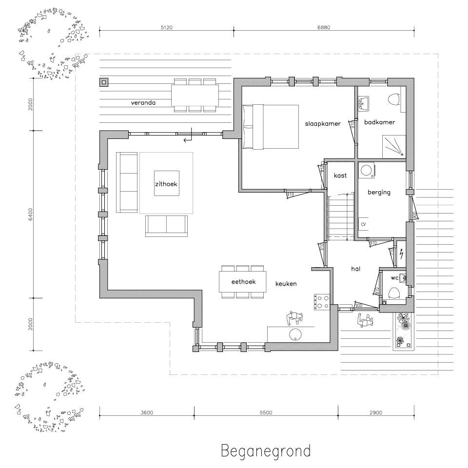 Plattegrond bungalow 525 1 | Gorate Garant Woningen